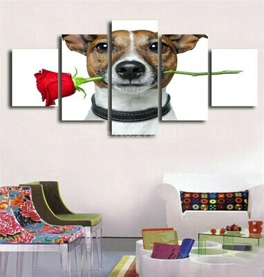 Dog Mouth Twisted Red Roses - 5 Panel Canvas Print Wall Art Set