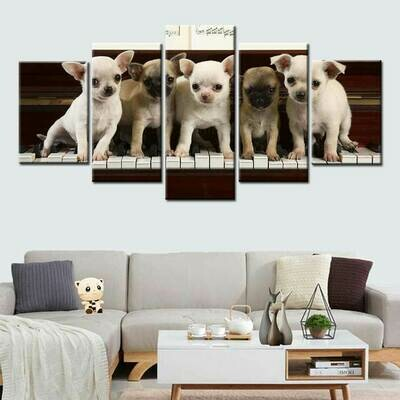 Dog Playing The Piano - 5 Panel Canvas Print Wall Art Set