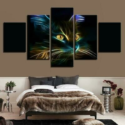 Abstract Cat Painting - 5 Panel Canvas Print Wall Art Set