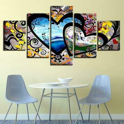 Abstract Hearts And Love - 5 Panel Canvas Print Wall Art Set