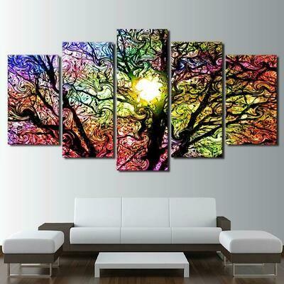 Abstract Color Trees - 5 Panel Canvas Print Wall Art Set