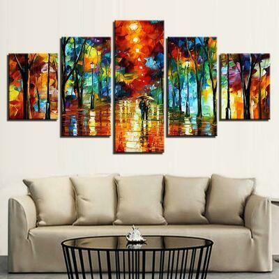 Abstract Multi Color - 5 Panel Canvas Print Wall Art Set