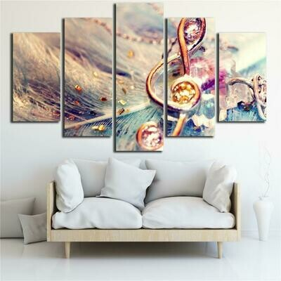 Abstract Music Note - 5 Panel Canvas Print Wall Art Set