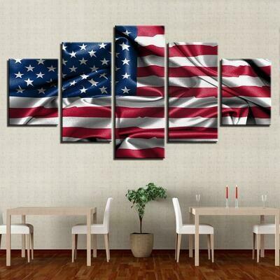 American Flag - 5 Panel Canvas Print Wall Art Set