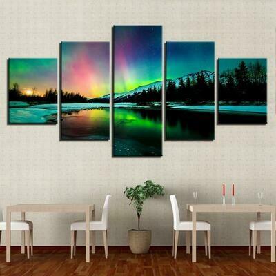 Aurora Borealis Lake - 5 Panel Canvas Print Wall Art Set