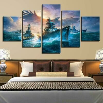 Battleships And Eagle - 5 Panel Canvas Print Wall Art Set