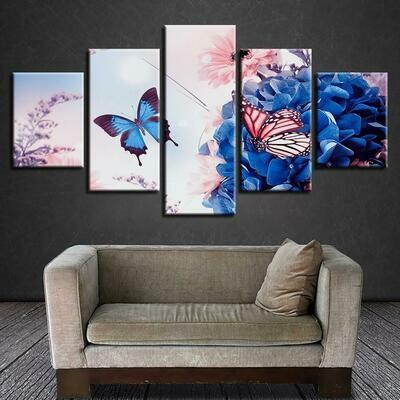 Beautiful Butterfly Flowers - 5 Panel Canvas Print Wall Art Set