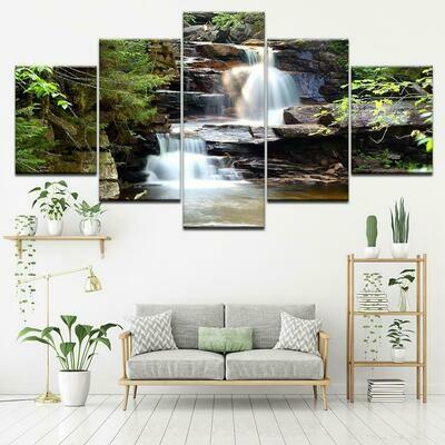 Beautiful Waterfall - 5 Panel Canvas Print Wall Art Set