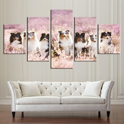 Dogs In Flowers - 5 Panel Canvas Print Wall Art Set