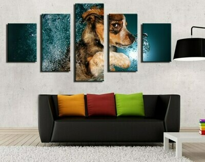 Lovely Dog Underwater - 5 Panel Canvas Print Wall Art Set