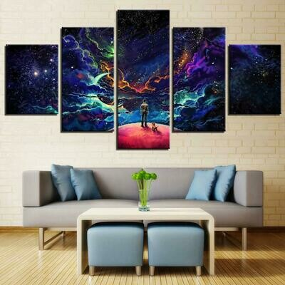 Man And Dog Starry Sky - 5 Panel Canvas Print Wall Art Set