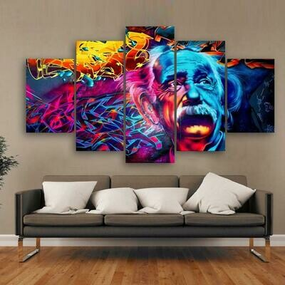 Albert Einstein Scenery - 5 Panel Canvas Print Wall Art Set