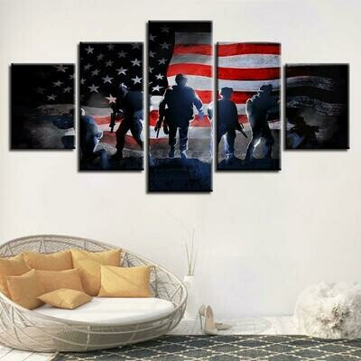 American Flag & Soldiers - 5 Panel Canvas Print Wall Art Set