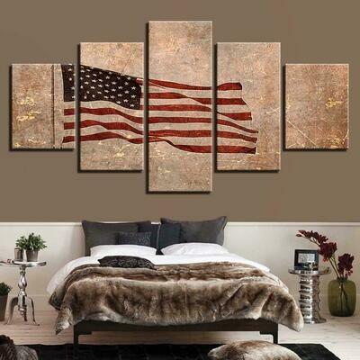 American Flag Abstract Prints - 5 Panel Canvas Print Wall Art Set