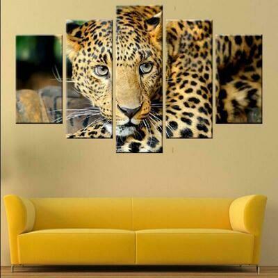 Animal Leopard - 5 Panel Canvas Print Wall Art Set