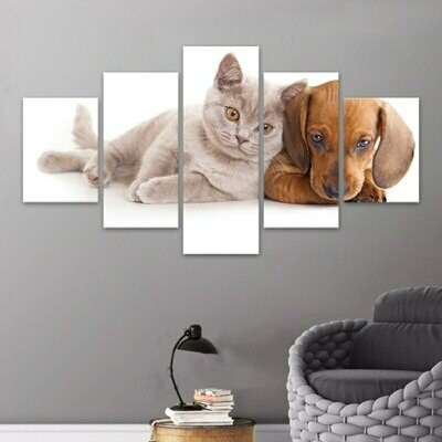 Harmonious Dog And Cat - 5 Panel Canvas Print Wall Art Set