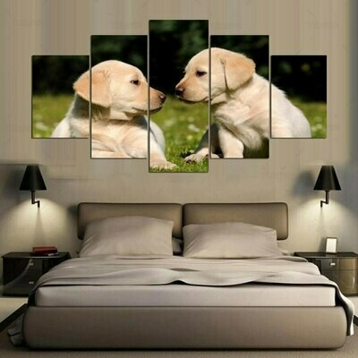 Two Cute Dogs - 5 Panel Canvas Print Wall Art Set