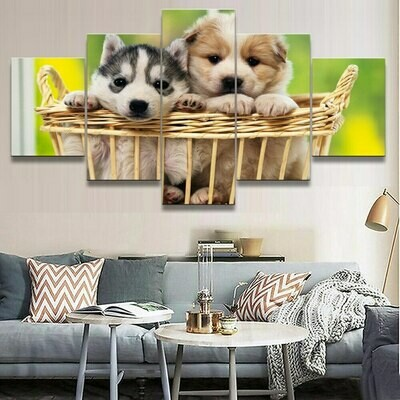 Two Lovely Dog - 5 Panel Canvas Print Wall Art Set
