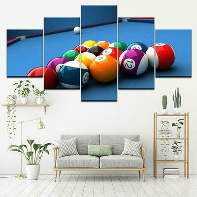 Billiard Balls - 5 Panel Canvas Print Wall Art Set