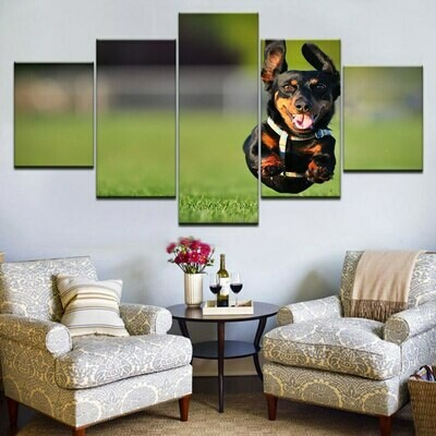 Happy Rottweiler Dog - 5 Panel Canvas Print Wall Art Set