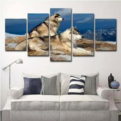 Snowy Dogs - 5 Panel Canvas Print Wall Art Set