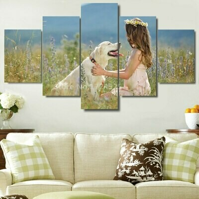 Sweet Girl And Lovely Dog - 5 Panel Canvas Print Wall Art Set
