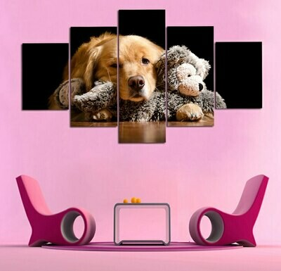 Yellow Dog With Puppets - 5 Panel Canvas Print Wall Art Set