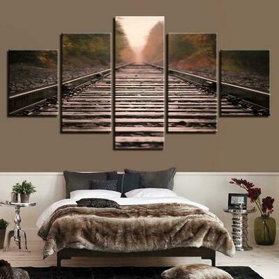 Autumn Train Track - 5 Panel Canvas Print Wall Art Set