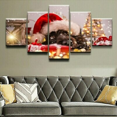 Dog With A Christmas Hat - 5 Panel Canvas Print Wall Art Set