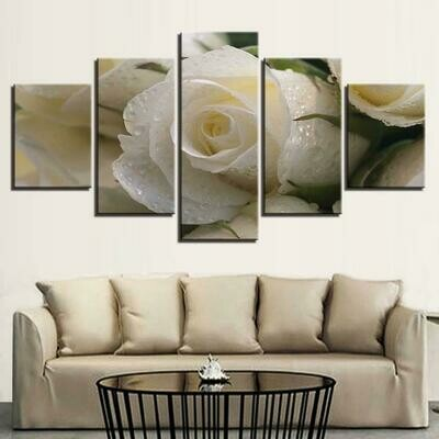 Beautiful White Rose - 5 Panel Canvas Print Wall Art Set