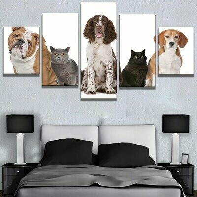 Dogs And Cats - 5 Panel Canvas Print Wall Art Set