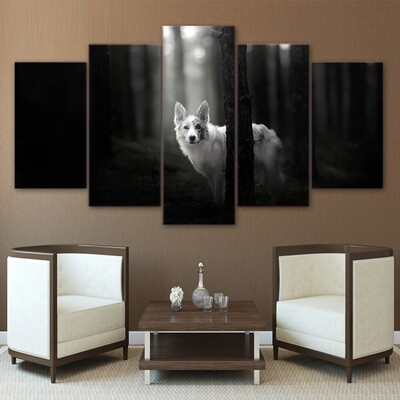 Forest Dog - 5 Panel Canvas Print Wall Art Set