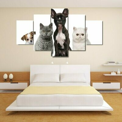 Lovely Puppy Cats - 5 Panel Canvas Print Wall Art Set