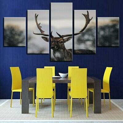 Animal Deer - 5 Panel Canvas Print Wall Art Set