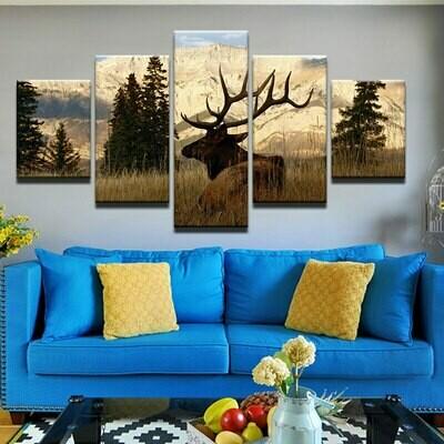 Animal Deer Landscape - 5 Panel Canvas Print Wall Art Set