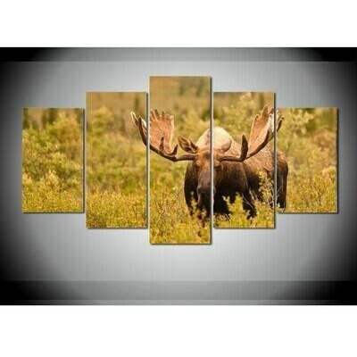 Animal Deer Living - 5 Panel Canvas Print Wall Art Set