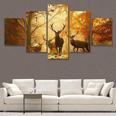 Autumn Trees Leaves Deer - 5 Panel Canvas Print Wall Art Set