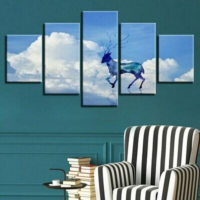 Cloud Deer Landscape - 5 Panel Canvas Print Wall Art Set