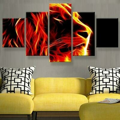Lion Abstract Fire - 5 Panel Canvas Print Wall Art Set