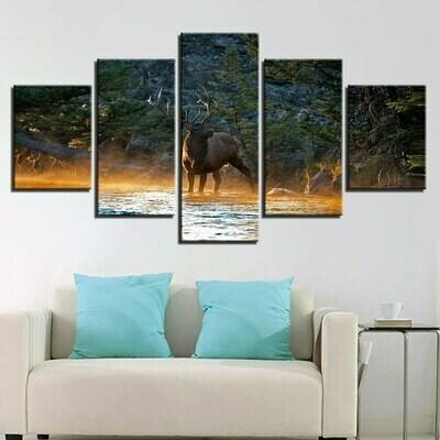 Deer - 5 Panel Canvas Print Wall Art Set