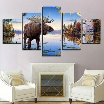 Animal Old Elk Deer River - 5 Panel Canvas Print Wall Art Set