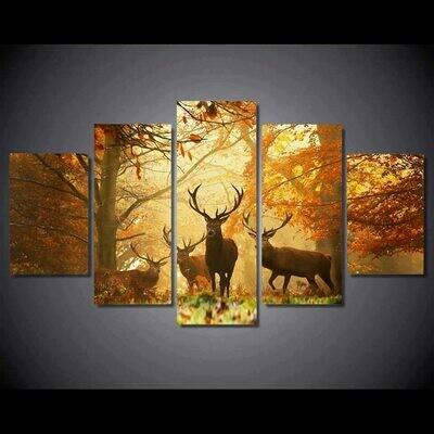 Deer Autumn Tree - 5 Panel Canvas Print Wall Art Set
