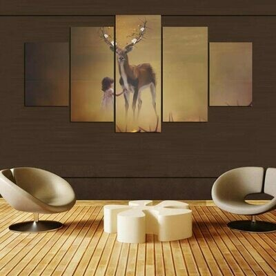 Little Girl Deer - 5 Panel Canvas Print Wall Art Set