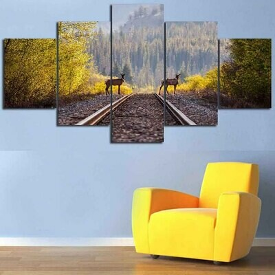 Railway In Forest Landscape - 5 Panel Canvas Print Wall Art Set