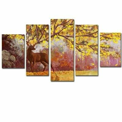 Watercolor Tree Deer - 5 Panel Canvas Print Wall Art Set