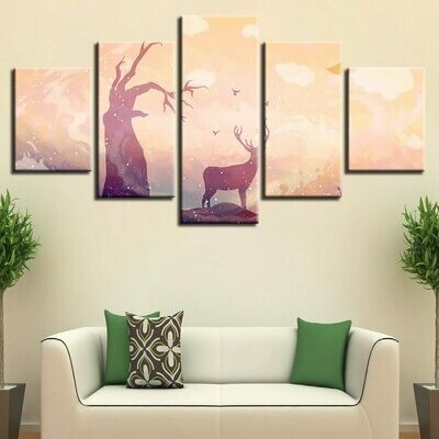Deer And Withered Tree - 5 Panel Canvas Print Wall Art Set