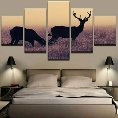 Animal Deer Landscape Wall - 5 Panel Canvas Print Wall Art Set