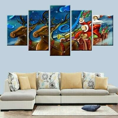Blessing Christmas Two Deer - 5 Panel Canvas Print Wall Art Set