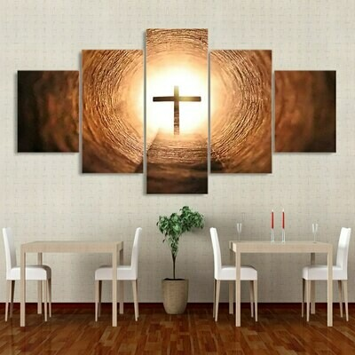 Christian Cross Landscape - 5 Panel Canvas Print Wall Art Set