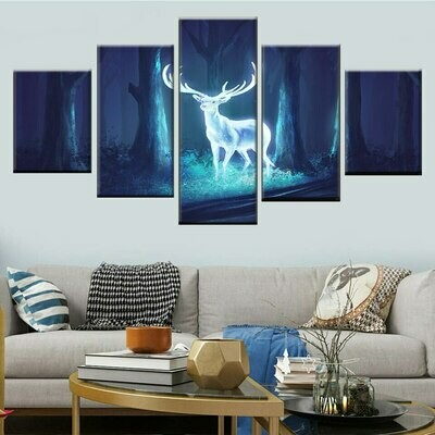 Deer In The Forest Night View - 5 Panel Canvas Print Wall Art Set